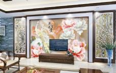 春色花卉时尚玉石雕刻电视背景墙设计素材