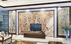 时尚豪华玉雕背景墙设计素材