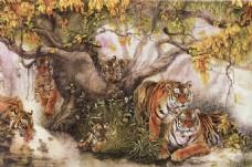 树木老虎中式装饰画