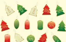 圣诞树形吊牌标签矢量图