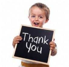 展示谢谢黑板的小男孩图片