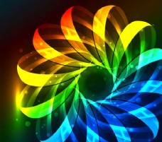 荧光彩色花条纹背景
