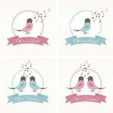 集四婴儿淋浴卡与鸟类