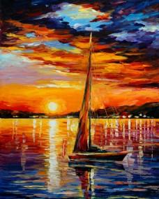傍晚太阳的余晖洒在湖面上油画图片