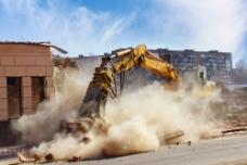 建筑工地挖土机摄影图片