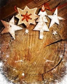 圣诞节卡片与年轮背景图片