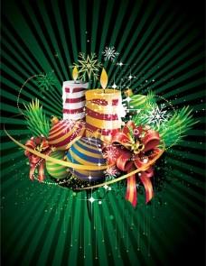 圣诞背景蜡烛和装饰品