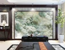 玉雕水墨画电视背景墙设计素材