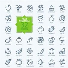 矢量线性水果蔬菜图标ICON