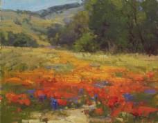 鲜花草地风景油画图片