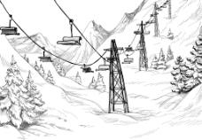 手绘雪山风景