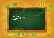 时髦的教师节背景与黑板