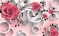 玫瑰圆环背景装饰画