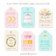 婚礼的平面标签收集