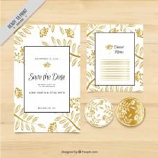 带有金色花卉主题元素的结婚卡