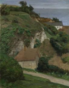 乡村房屋油画图片