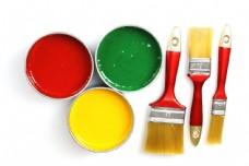 油漆桶与刷子图片