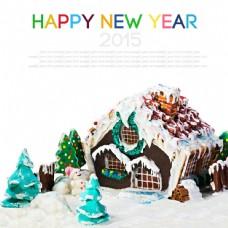 卡通圣诞房子与雪景图片
