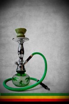 绿色烟管与烟壶图片