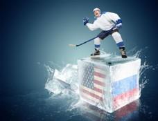 带国旗图案的冰块上的冰球运动员图片