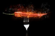 燃烧的红辣椒创意图片