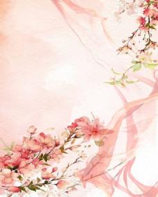 粉色水墨花朵背景