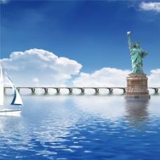 湖面桥梁风景装饰画