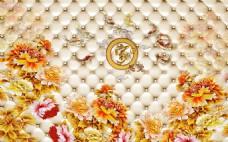 金色富贵花卉背景墙