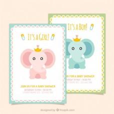 可爱大象婴儿淋浴卡