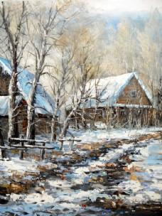 秋冬乡村小屋油画图片