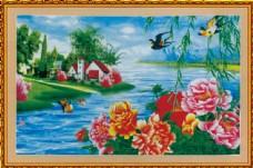 燕子牡丹花中堂画图片