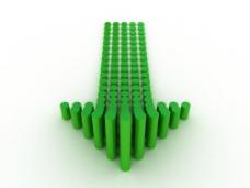 绿色圆柱组成的箭头图片