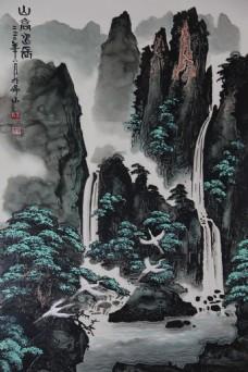 高山流水背景墙