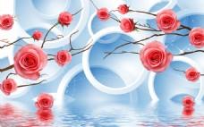 花卉圆环背景墙