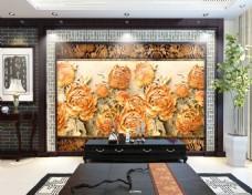 花卉纹理背景墙