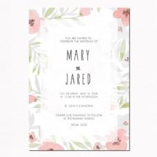 带叶子和粉红色花朵的结婚请柬
