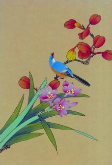 花卉植物与蓝色小鸟图片