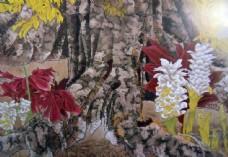 国画树根花卉图片