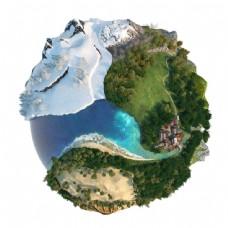 小星球上的雪山和森林图片