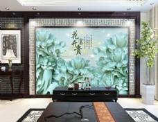 花开富贵 时尚电视背景墙设计素材