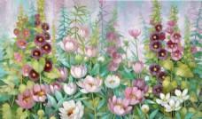 复古手绘水彩花朵油画