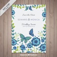鲜花蝴蝶邀请卡模板