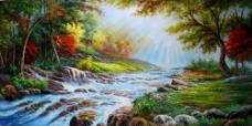 溪水油画图片
