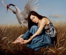 美女与丹顶鹤油画图片