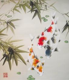 国画竹叶金鱼图片