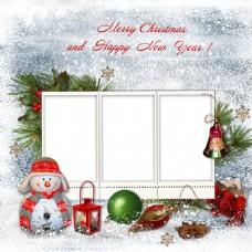 卡通雪人与圣诞球图片