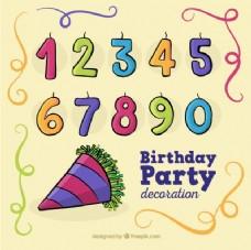 手绘生日元素和蜡烛形状数字