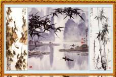 水墨竹山水中堂画图片
