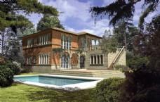 别墅建筑设计透视效果图片