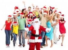戴圣诞帽子的人物和圣诞老人图片